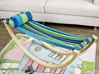 Haotian KMB16 J Children s Compact Rocking Hammock with with Wood Frame and Cotton Fabric   Reading  Hammock with Printed Carry Bag