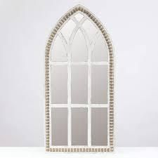 luxen Home Rustic Wood Cathedral Wall Mirror