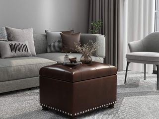 Adeco Tufted Bottom Bonded leather Storage Ottoman