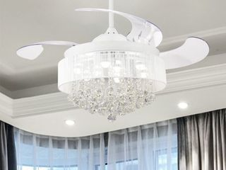 46in Foldable 4 Blade lED Ceiling Fan Crystal Chandelier with Remote