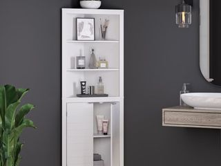 Madison Tall Corner Cabinet in White