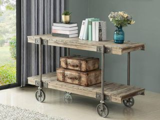 FirsTime   Co  Oxford Farmhouse Factory Cart Wooden Console Table