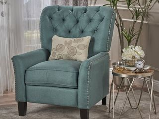 dark teal   dark brown Cerelia Tufted Fabric Recliner by Christopher Knight Home Retail  438 99