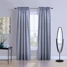 Two Blue Contemporary Rod Pocket Curtains