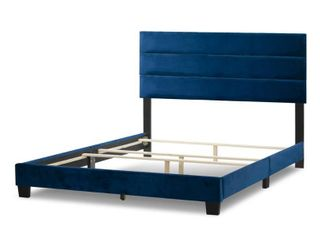 Queen Aris Navy Blue Velvet Queen Bed with line Stitching Tufting Retail  203 99