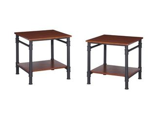 Teak   Texture Brown Cagny Industrial Wood Steel End Tables by Christopher Knight Home  Set of 2  Retail  189 99