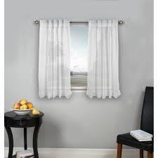 White Palm Beach Pinch Pleated Top with Back Tabs Short Curtain Panel Pair