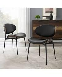 Set of 2 Black Art leon Mid Century Bentwood Accent Upholstery Dining Chairs Retail  278 99