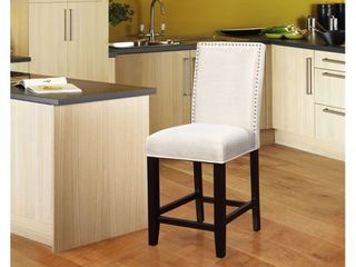 linon James White Wood Foam Fabric 24in Counter Stool