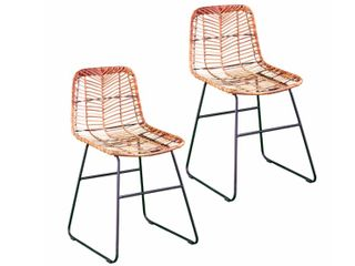 Rialto Modern Natural  Black Faux Rattan Outdoor Chairs  Set of 2  by Havenside Home  Retail 136 99