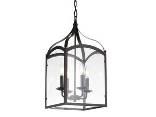 Ruth 11 inch 4 light lantern Metal Glass lED Pendant  Oil Rubbed Bronze by JONATHAN Y  Retail 98 49