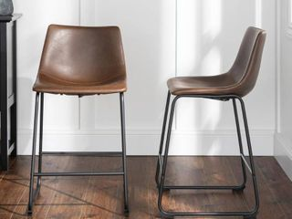 Walker Edison 24 Inch Industrial Faux leather Counter Stools  Set of 2   Brown