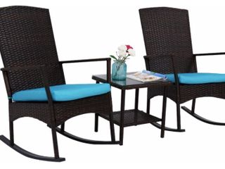 Kinbor 3 Piece Wicker Rocker Chair Set  Patio Bistro Set  Rocking Chairs   Table  All weather Outdoor Chat Set w  Cushions  Retail 219 99