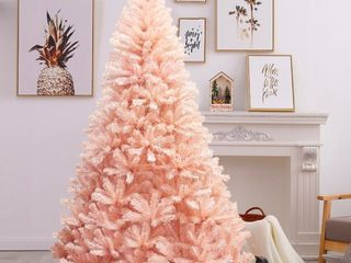 6 Foot  Pink Faux PVC Christmas Tree with Iron Stand