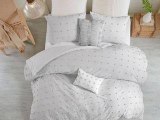 7pc King California King Kay Cotton Jacquard Duvet Cover Set Gray