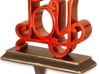 Joy Red Poly Resin Stocking Holder