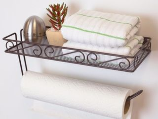Wall Mounted Paper Towel Holder with Basket  Bronze