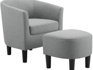 Camilla Fabric Barrel Chair with Ottoman Set  Retail 158 49