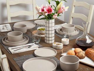 12 Piece  Tabletops Gallery York 12PC Dinnerware Set   Feather Grey