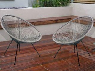 Grey Acapulco Outdoor Patio Chair 2 Chair Set  Retail 168 49