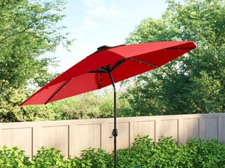 Outdoor 9 FT Patio Umbrella Sun Shade Offset with Solar lED light  Tilt and Crank  Retail 99 99