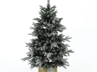 4 5Ft Flocked Pre lit Artificial Porch Tree with Pinecones  Retail 124 99