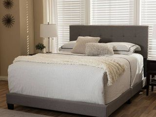 Baxton Studio Gray Fabric Upholstered Grid Tufted Full Size Bed