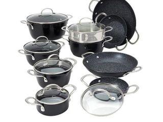 Curtis Stone Dura Pan Nonstick 16 piece Nesting Cookware Set  Retail 176 99