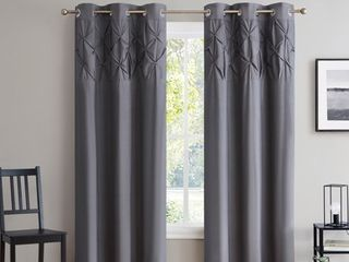 Hudson Pintuck Window Curtain Panel Pair  84 x38  Grey   84 Inch