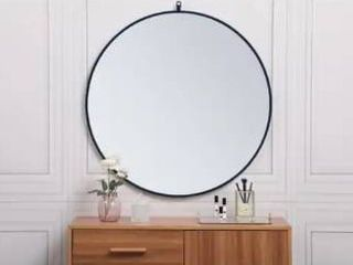 36  Diameter   Blue  Carson Carrington labbemala Metal Frame Round Mirror  Retail 246 49