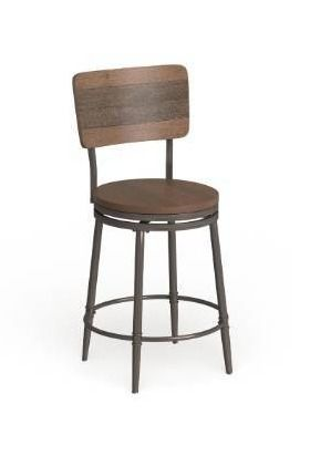 Carbon loft Roxie Distressed Walnut Swivel Counter Stool   42H x 21 5W x 21 5D with 26  Seat Height   Retail 164 99