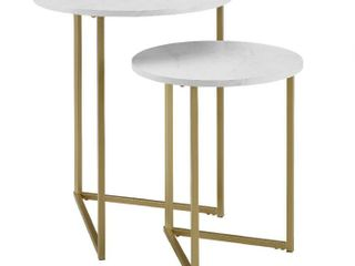 2 Piece V leg Nesting Side Tables   White Faux Marble Gold