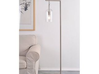 Capri Brushed Steel and Clear Glass Floor lamp