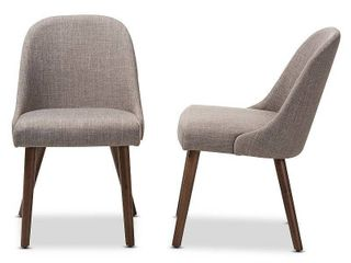 Set of 2 Cody Mid Century Modern Walnut Finished Wood Upholstered Dining Chair Beige   Baxton Studio