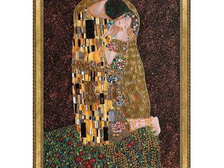 la Pastiche The Kiss  Full View  by Gustav Klimt with Gold Verona Bead and Braid Frame Oil Painting Wall Art  44 75  x 34 75  Retail 687 99