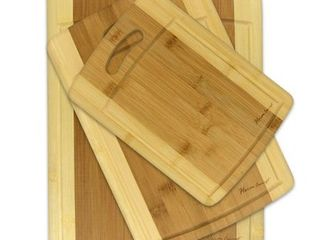 Brown  3 piece Cutting Board Set   Organic Bamboo Cutlery Chopping Board Set with Drip Groove