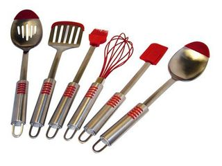 Red le Chef Stainless Steel Silicone Tip 6 piece Utensil Set