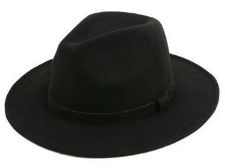 Black  Pop Fashionwear Classic Wide Brim Fedora Hat