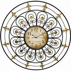 large Classic Iron Wall Clock in Black and Gold   large  Retail 100 00