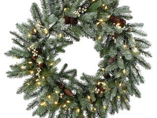 National Tree Company 30 in  light Up Snowy Morgan Spruce Artificial Christmas Wreath  Green