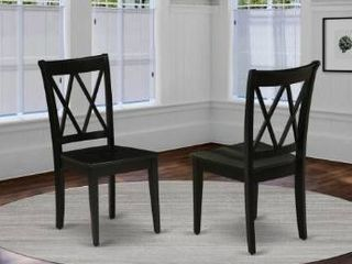 ClC BlK W Clarksville Double X back Chairs in Black Finish  Set of 2  Retail 153 49