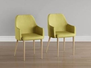 Carson Carrington Pori Mid century Fabric Dining Chair  Set of 2  Retail 189 25