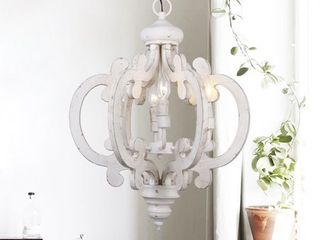 6 light Distressed Antique White Wooden Chandelier  Retail 179 49