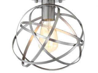 8 5  Alba Metal Orb lED Flush Mount Nickel Heather  Includes Energy Efficient light Bulb    JONATHAN Y