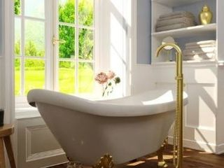 Neptune Single Handle Floor Mounted Gooseneck Freestanding Tub Filler  Retail 269 99