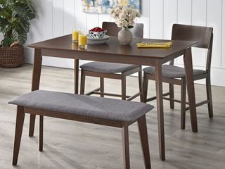 TMS Tiara 4 Piece Mid Century Dining Set with Bench  Multiple Colors
