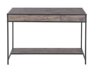 Grey   Powder Coated  Carbon loft Searz Rustic 1 Drawer Computer Writing Desk