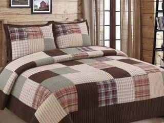 Cozy line Brody Plaid Patchwork Reversible Quilt Set   Queen