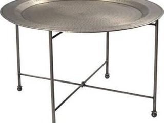 Hammered Nickel   Iron  Nickel Plated Round Coffee Table