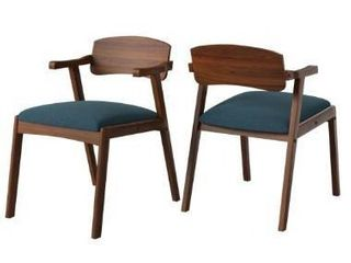 Carson Carrington Comiskey Cherry Finish Arm Dining Chair with Back  Set of 2    Denim Blue